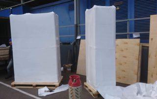 Упаковка оборудования в термоусадочную пленку, процесс